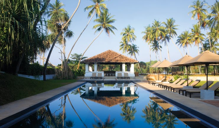 Outdoor swimming pool with umbrellas and sunloungers around the pool edge and palm trees above