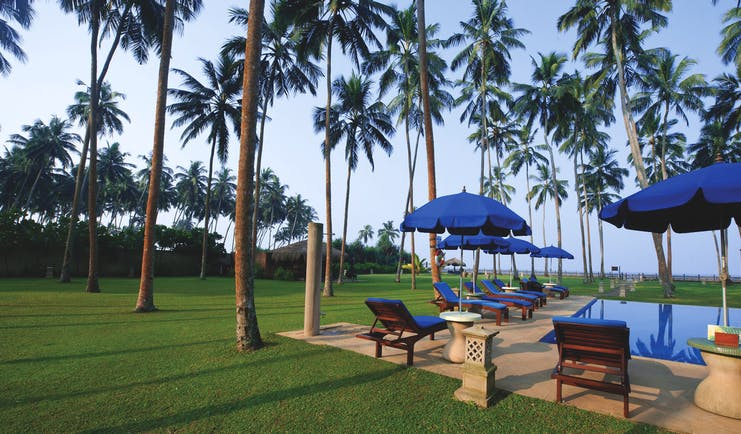 Reef Villa and Spa gardens, lawns, palm trees, swimming pool, loungers, umbrellas