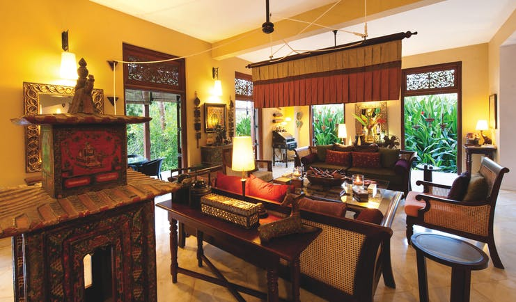 Reef Villa and Spa main house lounge, antiques, elegant grand decor