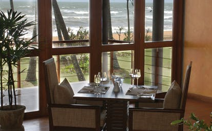 Serene Pavilions Sri Lanka indoor dining with an ocean view