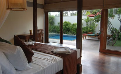 Serene Pavilions garden pavilion bedroom bed modern décor private terrace and pool