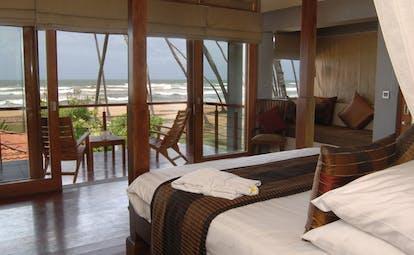 Serene Pavilions ocean pavilion bedroom bed private terrace modern décor
