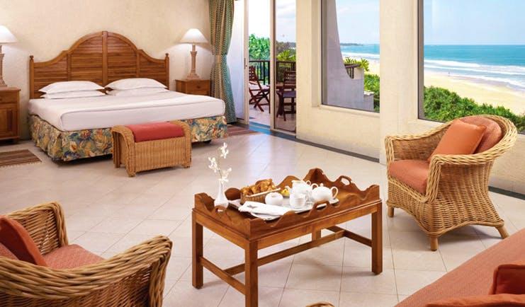 Taj Bentota Sri Lanka deluxe room sitting area ocean view balcony
