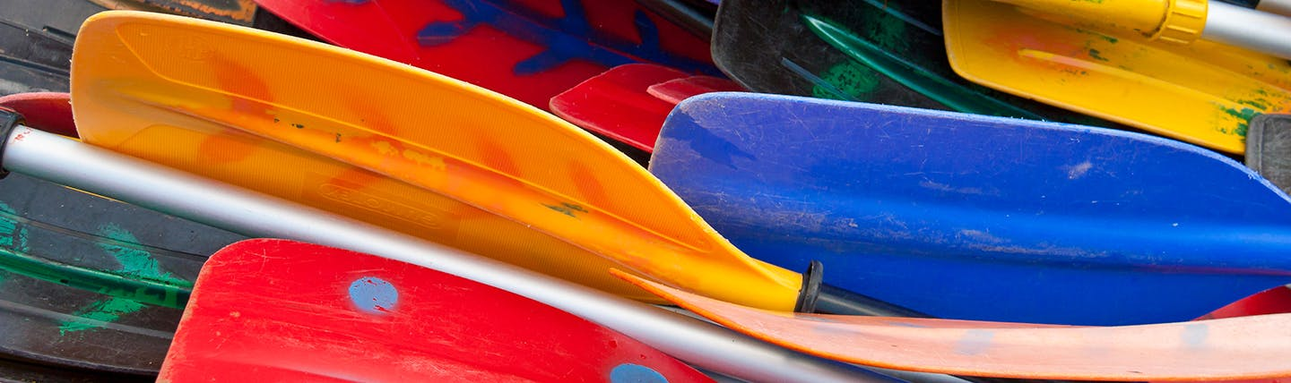 Group of colourful oars of boats