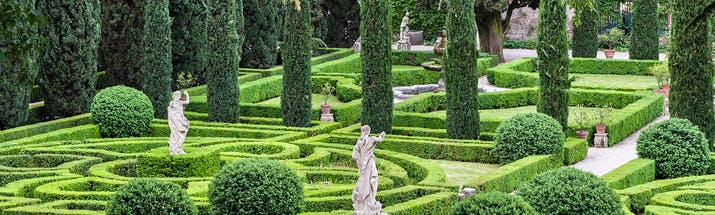 Symmetrical formal gardens of box and cypress in Verona